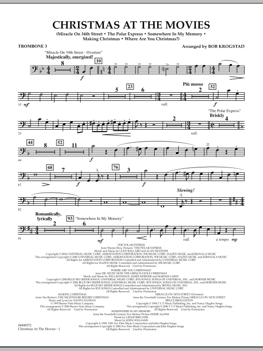 Christmas At The Movies - Trombone 3 (Full Orchestra)