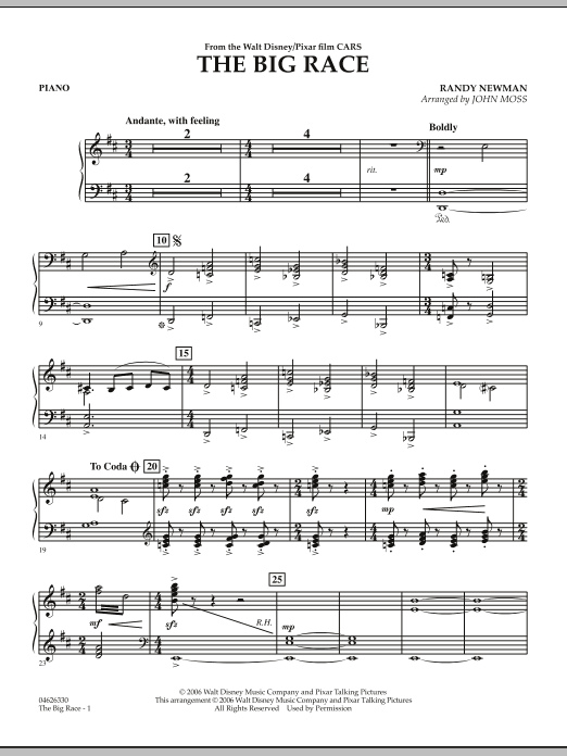 The Big Race (from Cars) - Piano (Orchestra)