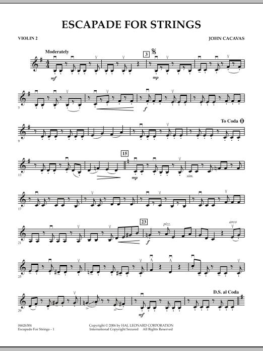 Escapade for Strings - Violin 2 (Orchestra)
