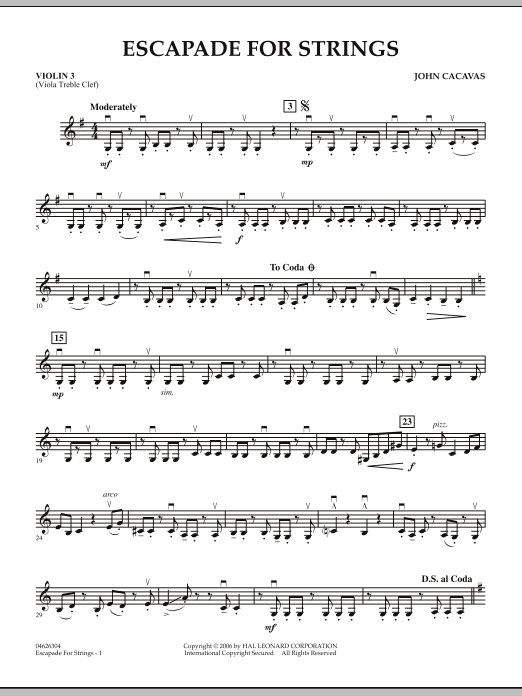 Escapade for Strings - Violin 3 (Viola T.C.) (Orchestra)