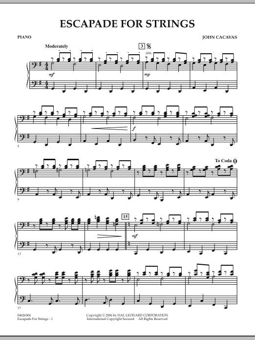 Escapade for Strings - Piano (Orchestra)