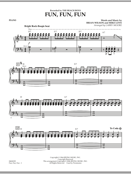 Fun, Fun, Fun - Piano Partition Digitale