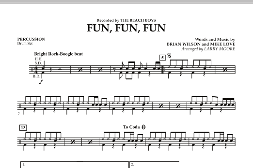 Fun, Fun, Fun - Percussion Sheet Music