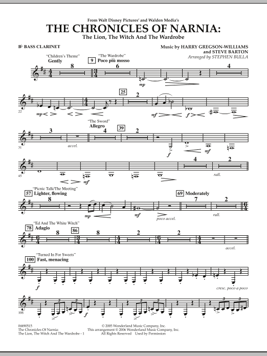 Music from The Chronicles Of Narnia: The Lion, The Witch And The Wardrobe - Bb Bass Clarinet (Full Orchestra)