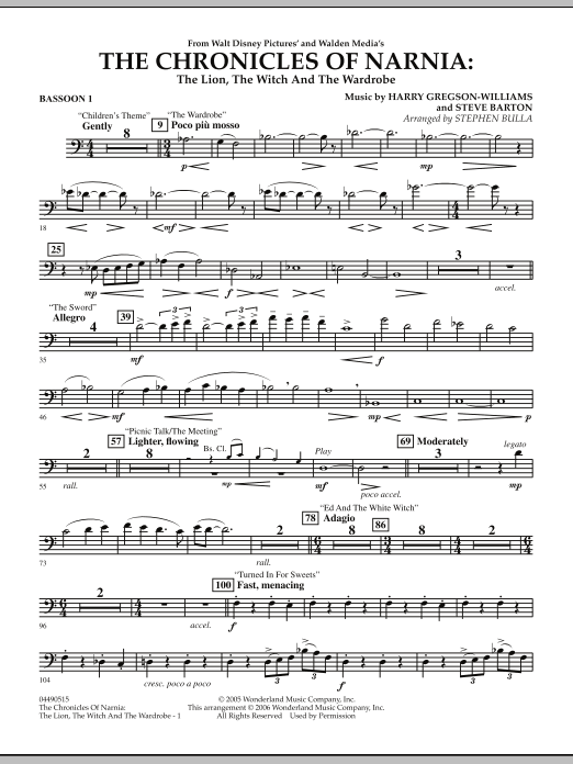 Music from The Chronicles Of Narnia: The Lion, The Witch And The Wardrobe - Bassoon 1 (Full Orchestra)