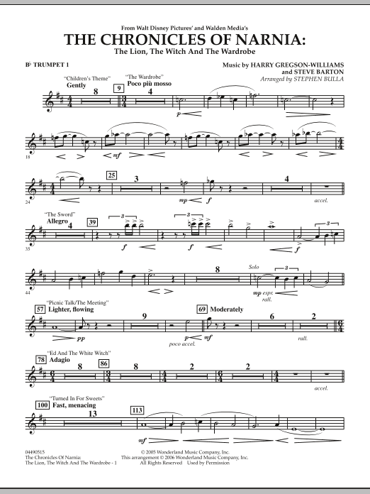 Music from The Chronicles Of Narnia: The Lion, The Witch And The Wardrobe - Bb Trumpet 1 (Full Orchestra)