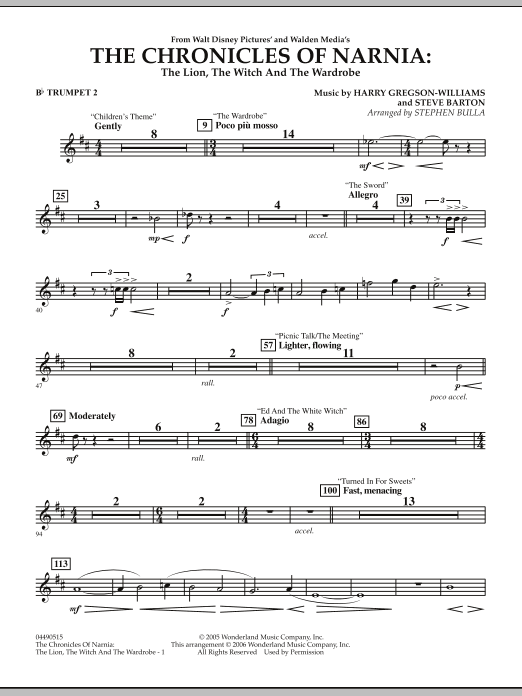 Music from The Chronicles Of Narnia: The Lion, The Witch And The Wardrobe - Bb Trumpet 2 (Full Orchestra)