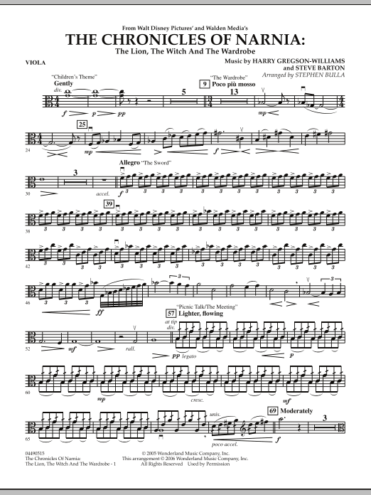 Music from The Chronicles Of Narnia: The Lion, The Witch And The Wardrobe - Viola (Full Orchestra)