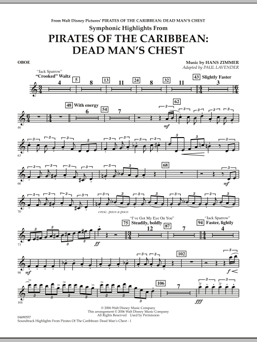 Soundtrack Highlights from Pirates Of The Caribbean: Dead Man's Chest - Oboe (Full Orchestra)