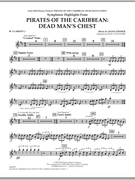 Soundtrack Highlights from Pirates Of The Caribbean: Dead Man's Chest - Bb Clarinet 2 (Full Orchestra)
