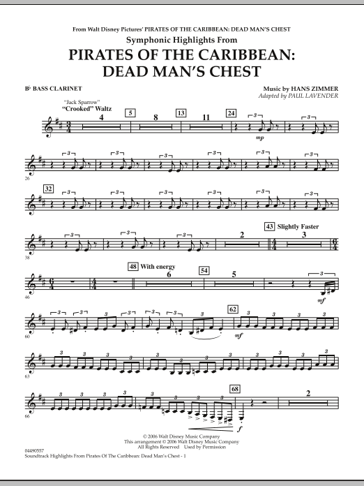 Soundtrack Highlights from Pirates Of The Caribbean: Dead Man's Chest - Bb Bass Clarinet (Full Orchestra)