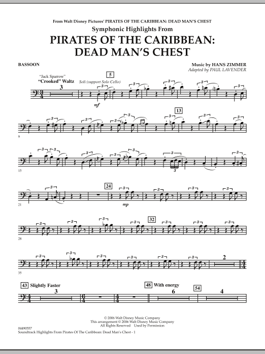 Soundtrack Highlights from Pirates Of The Caribbean: Dead Man's Chest - Bassoon (Full Orchestra)