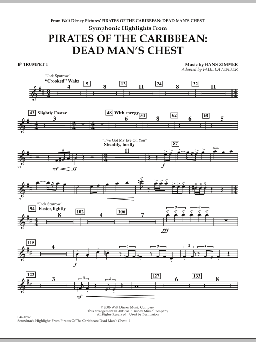 Soundtrack Highlights from Pirates Of The Caribbean: Dead Man's Chest - Bb Trumpet 1 (Full Orchestra)