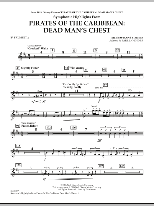 Soundtrack Highlights from Pirates Of The Caribbean: Dead Man's Chest - Bb Trumpet 2 (Full Orchestra)