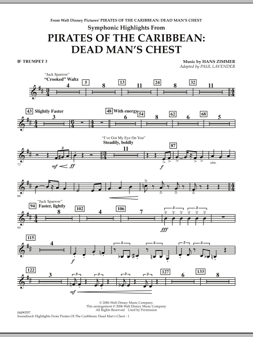Soundtrack Highlights from Pirates Of The Caribbean: Dead Man's Chest - Bb Trumpet 3 (Full Orchestra)