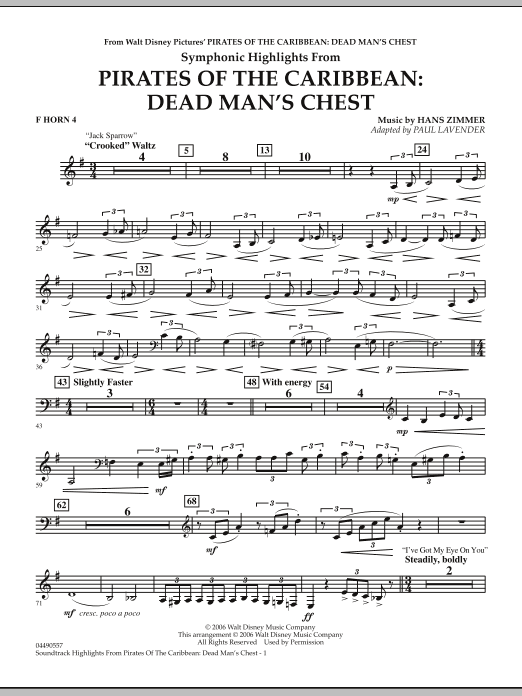 Soundtrack Highlights from Pirates Of The Caribbean: Dead Man's Chest - F Horn 4 (Full Orchestra)