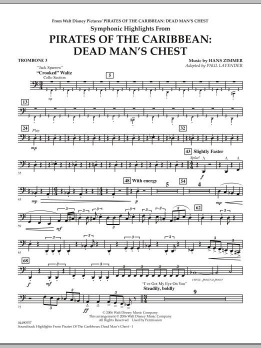 Soundtrack Highlights from Pirates Of The Caribbean: Dead Man's Chest - Trombone 3 (Full Orchestra)