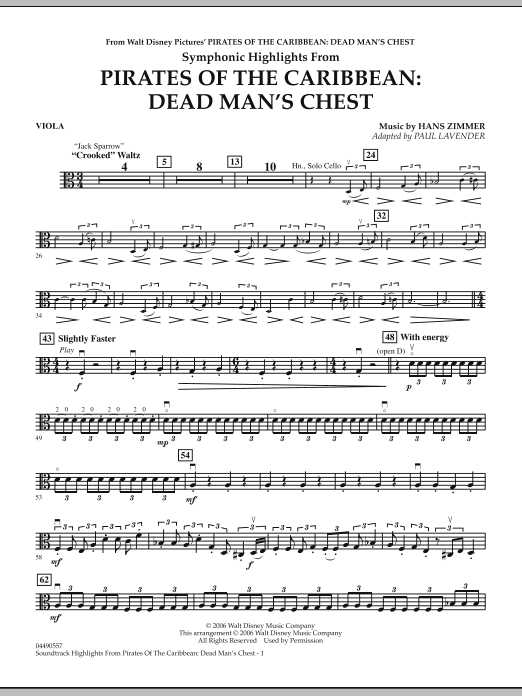 Soundtrack Highlights from Pirates Of The Caribbean: Dead Man's Chest - Viola (Full Orchestra)