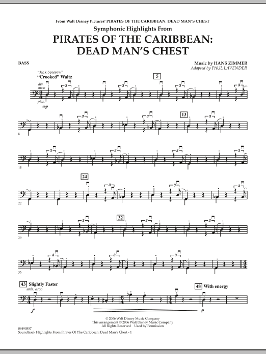 Soundtrack Highlights from Pirates Of The Caribbean: Dead Man's Chest - String Bass (Full Orchestra)