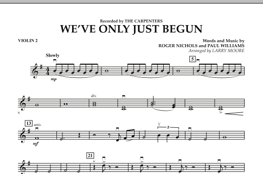 We've Only Just Begun - Violin 2 (Orchestra)