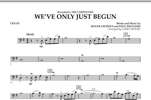 We've Only Just Begun - Cello (Orchestra)