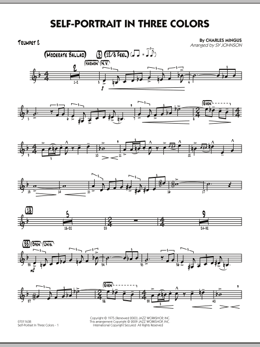 Self-Portrait In Three Colors - Trumpet 2 (Jazz Ensemble)