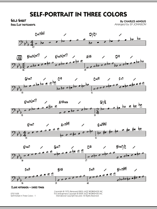 Self-Portrait In Three Colors - Bass Clef Solo Sheet (Jazz Ensemble)