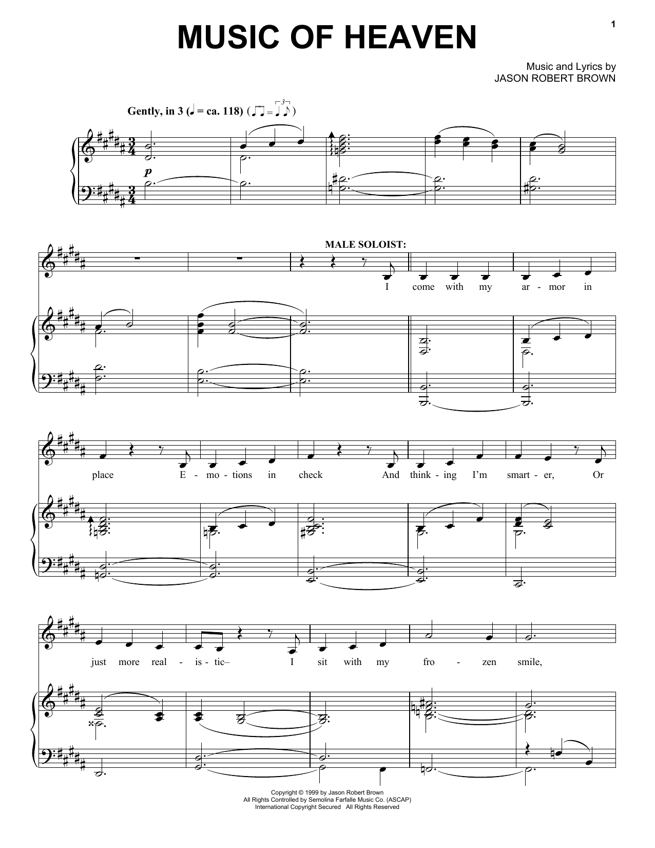 Partition piano Music Of Heaven de Jason Robert Brown - Piano Voix