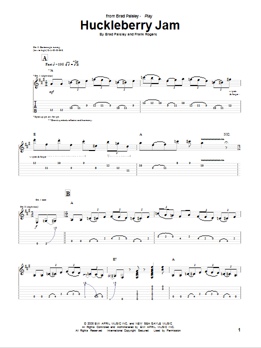 Huckleberry Jam Sheet Music