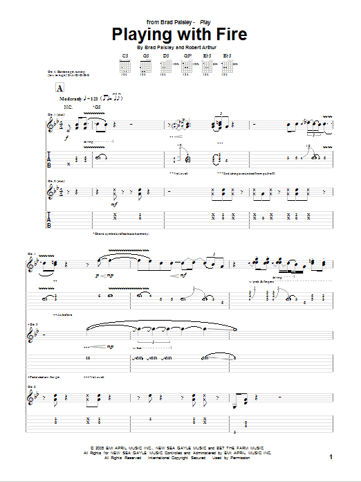 Tablature guitare Playing With Fire de Brad Paisley - Tablature Guitare