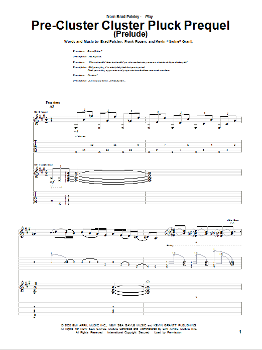 Pre-Cluster Cluster Pluck Prequel (Prelude) (Guitar Tab)