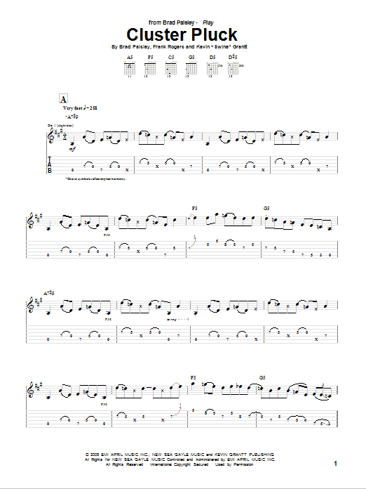 Cluster Pluck Sheet Music
