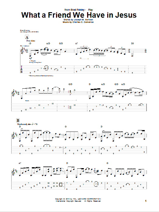 What A Friend We Have In Jesus Guitar Tab By Brad Paisley Guitar