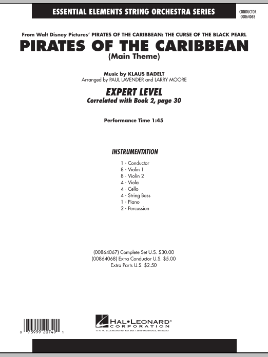 Pirates Of The Caribbean (Main Theme) (COMPLETE) sheet music for orchestra by Klaus Badelt, Larry Moore and Paul Lavender. Score Image Preview.