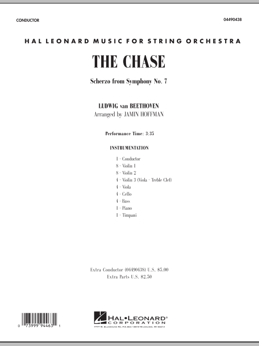 The Chase (Scherzo from Symphony No. 7) (COMPLETE) sheet music for orchestra by Jamin Hoffman and Ludwig van Beethoven. Score Image Preview.