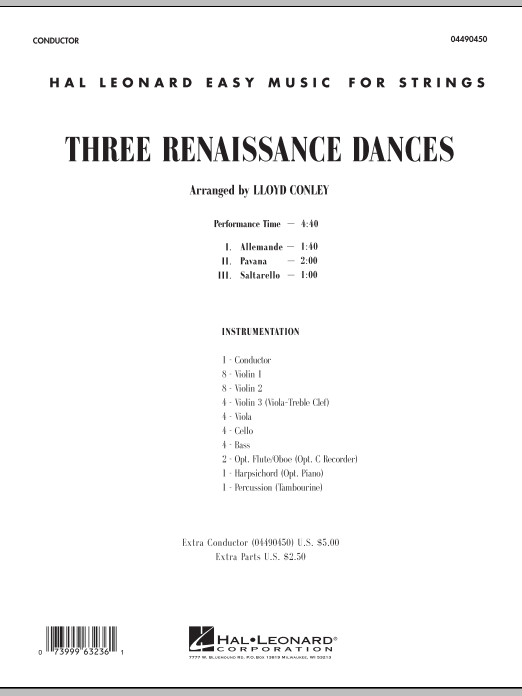 Three Renaissance Dances (COMPLETE) sheet music for orchestra by Lloyd Conley. Score Image Preview.