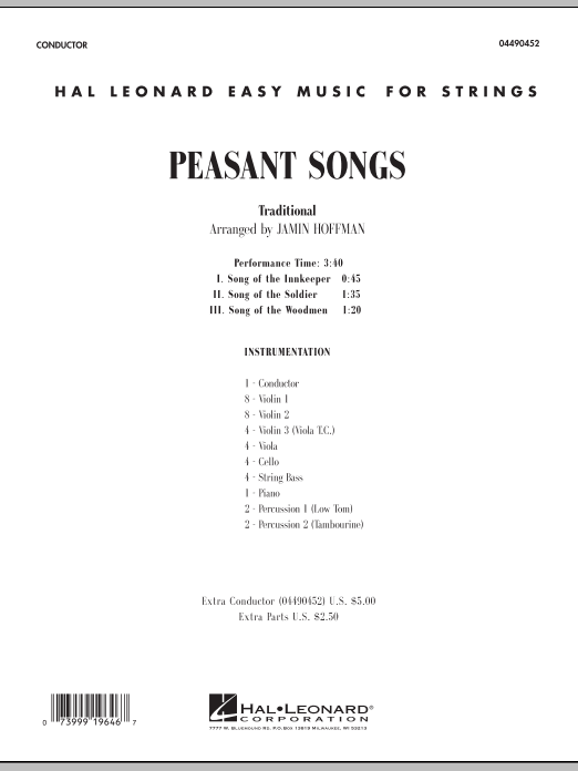 Peasant Songs (COMPLETE) sheet music for orchestra by Jamin Hoffman. Score Image Preview.