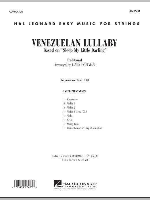 Venezuelan Lullaby (COMPLETE) sheet music for orchestra by Jamin Hoffman. Score Image Preview.