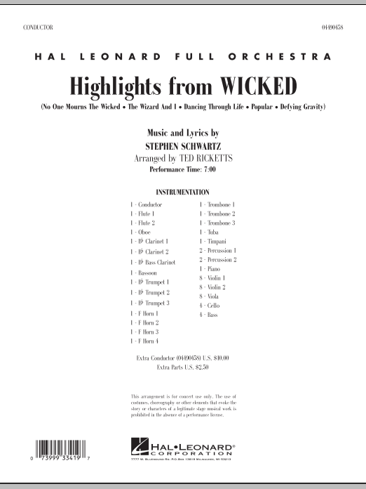 Highlights from Wicked (COMPLETE) sheet music for full orchestra by Ted Ricketts and Stephen Schwartz. Score Image Preview.