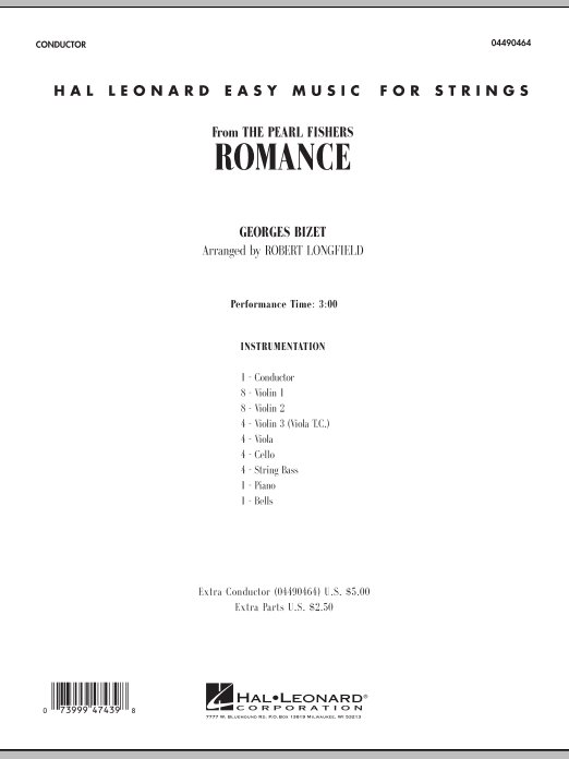 Romance (from The Pearl Fishers) (COMPLETE) sheet music for orchestra by Robert Longfield and Georges Bizet. Score Image Preview.