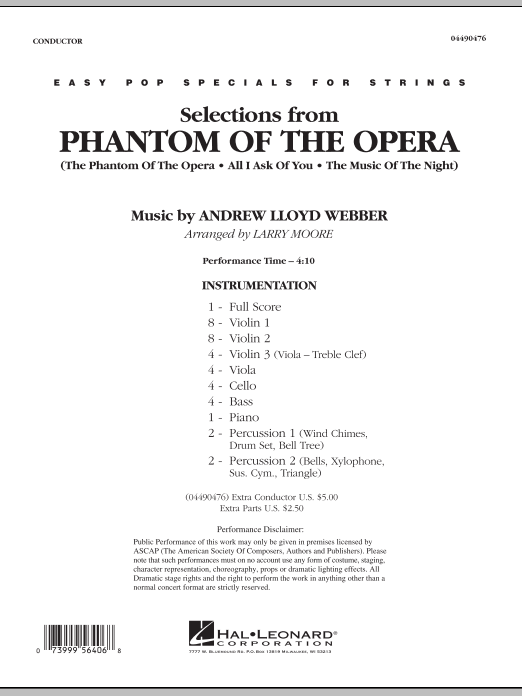 Selections from Phantom Of The Opera (COMPLETE) sheet music for orchestra by Larry Moore and Andrew Lloyd Webber. Score Image Preview.