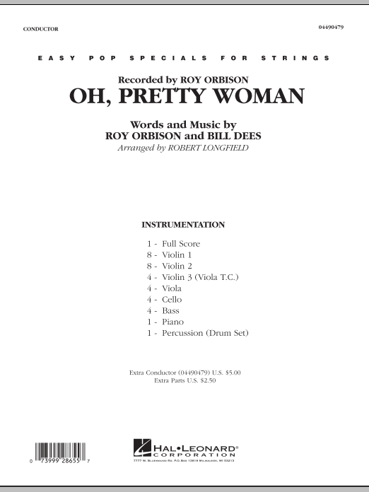 Oh, Pretty Woman (COMPLETE) sheet music for orchestra by Robert Longfield, Bill Dees and Roy Orbison. Score Image Preview.