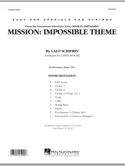 Mission: Impossible Theme (COMPLETE) sheet music for orchestra by Lalo Schifrin and Larry Moore. Score Image Preview.