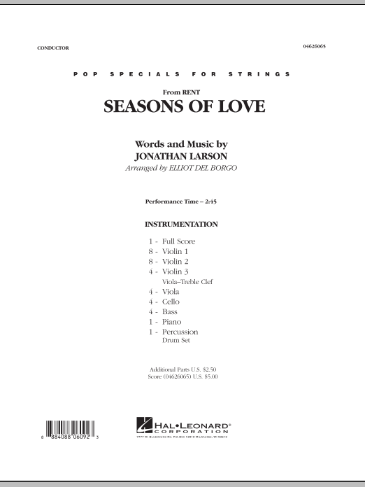 Seasons Of Love (COMPLETE) sheet music for orchestra by Jonathan Larson and Elliot Del Borgo. Score Image Preview.