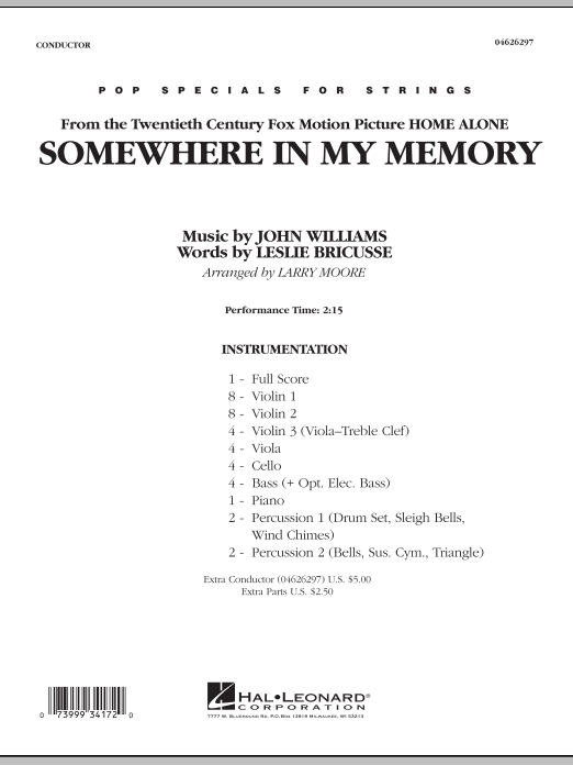 Somewhere In My Memory (from Home Alone) (COMPLETE) sheet music for orchestra by Larry Moore and John Williams. Score Image Preview.