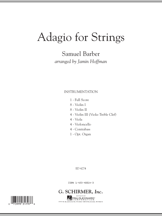 Adagio For Strings (COMPLETE) sheet music for orchestra by Jamin Hoffman and Samuel Barber. Score Image Preview.