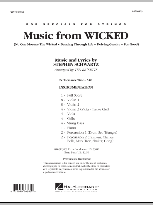 Music from Wicked (COMPLETE) sheet music for orchestra by Ted Ricketts and Stephen Schwartz. Score Image Preview.