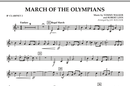 March Of The Olympians - Bb Clarinet 2 (Concert Band)