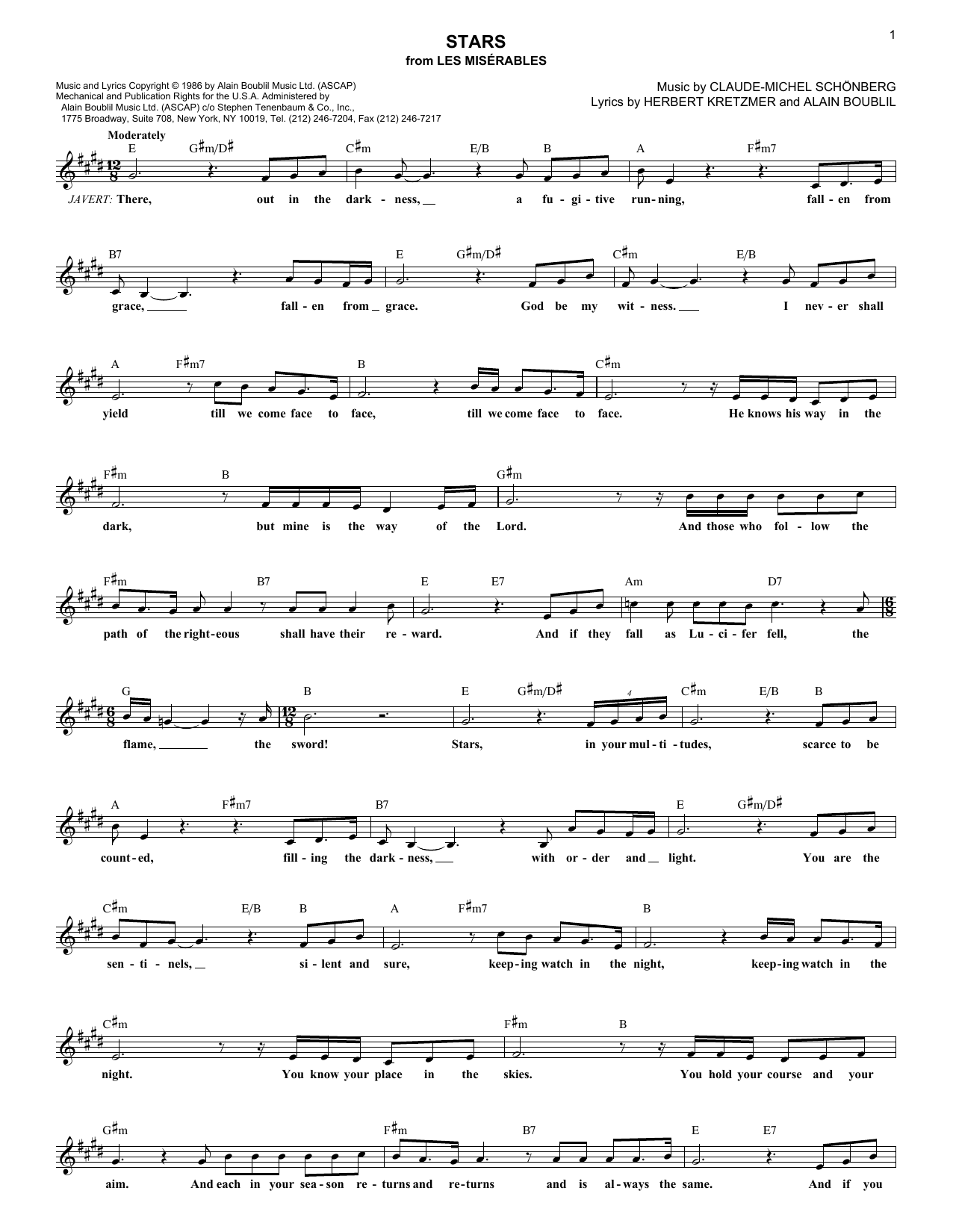 Stars (Lead Sheet / Fake Book)
