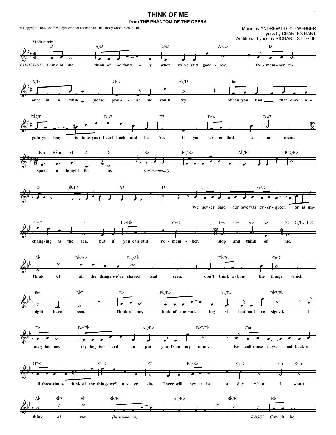 Think Of Me (from The Phantom Of The Opera) (Lead Sheet / Fake Book)